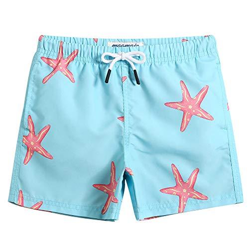 MaaMgic pantalocini da Bagno per bambimi Ragazzi Asciugatura Rapida Costume da Mare Spiaggia Piscina Slip Interno, Arancione con Robot, 7 Anni