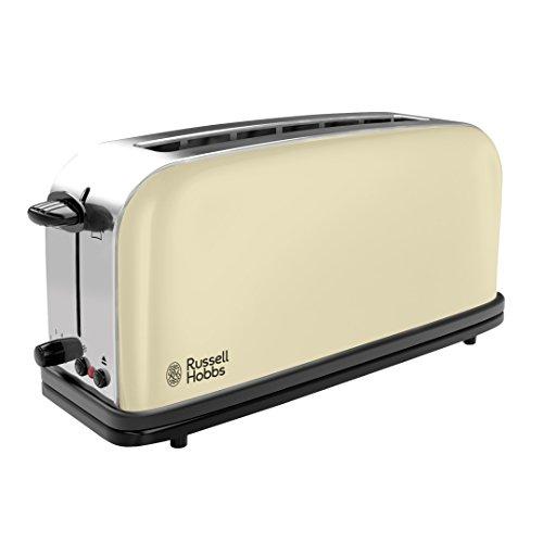 Russell Hobbs Toaster Grille-Pain, Fente Large Spécial Baguette, 6 Niveaux de Brunissage, Décongèle, Réchauffe - Crème 21395-56 Colours Plus