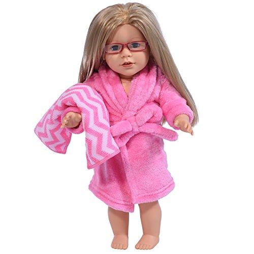 The New York Doll Collection Bata de muñeca de 18 Pulgadas en Blanco con Toalla Se Adapta a American Girl Dolls - Albornoz de muñeca y cinturón de Corbata con Toalla (Rosa)