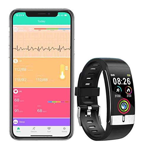 Monitor de Actividad Física ZEERKEER, Monitor de Ritmo Cardíaco de ECG y PPG, Monitor de Actividad con Presión Arterial, Pulsera Inteligente Bluetooth con Monitor de Sueño para Mujeres y Hombres