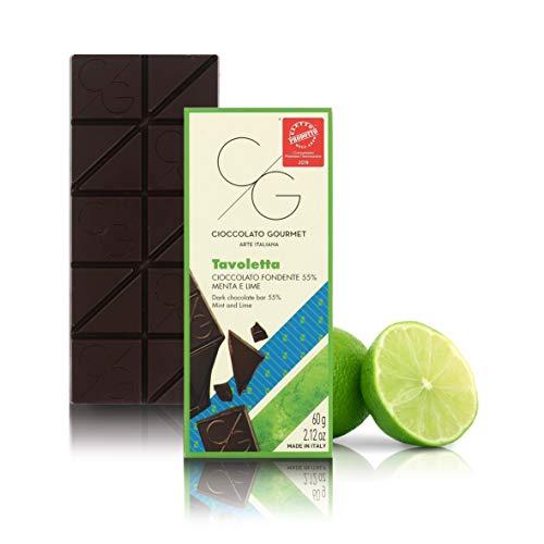 Tableta de Chocolate Gourmet, Chocolate Negro 55% con Menta y Lima, 60g