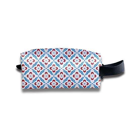 Los puntos que se comparan con los puntos de Leopard S Azulejo azul Bolsas de cosméticos Organizador Bolsa portátil Bolsa de cosméticos de almacenamiento trapezoidal