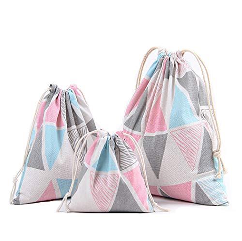 Abaría - 3 Unidades Bolsa de algodón con Cuerdas – Pequeña Saco Bolsas - Bolsa Inserto Organizador para bebé Ropa Juguete pañales - Bolsa de Regalo - 25x 30 cm, 19 x 23 cm, 14 X 16