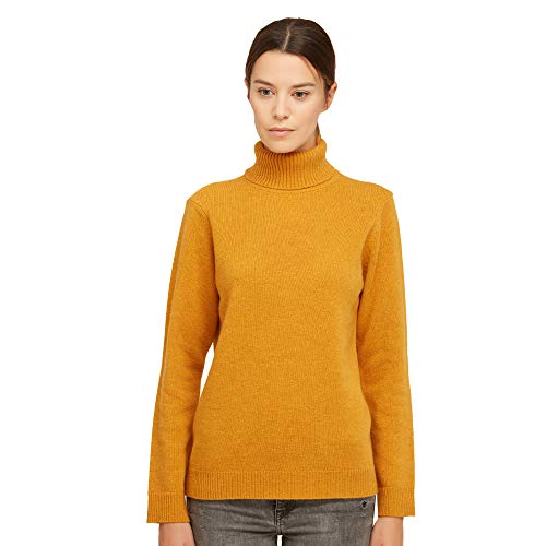 Dames Pullover Coltrui Sweater van 100% Virgin wol kleur geel mosterd