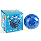 Topways Maze Ball Toy, Mini 3D Magic Maze Ball Marble Bead Labyrinth Intelligence & Idea Maze Game Classic Puzzle Brain Teasers Gifts for kids and Adults(Difficult)