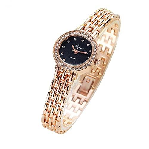 Las Mujeres del Reloj de Cuarzo analógico de Pulsera con Movimiento aleación Brazalete de Cristal Negro Cadena Dial Relojes Multi usos con Pila de botón (Rosa de Oro)