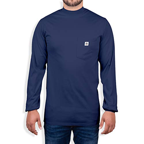 Ur Shield Fire Resistant 7 oz. Cotton Long Sleeve T-Shirt - FR Tee Shirt - FR T-Shirt Defies Melting, Dripping, After-Burning – Fire Retardant Clothing for Electricians, Welders, More Navy