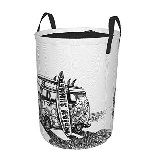 MAYBELOST Plegable Grande Cesto de Ropa Sucia para el Hogar,Surf Van en la Playa,Lavandería Cesta de Almacenaje Impermeable con Cordón,16.5' x 21.6'
