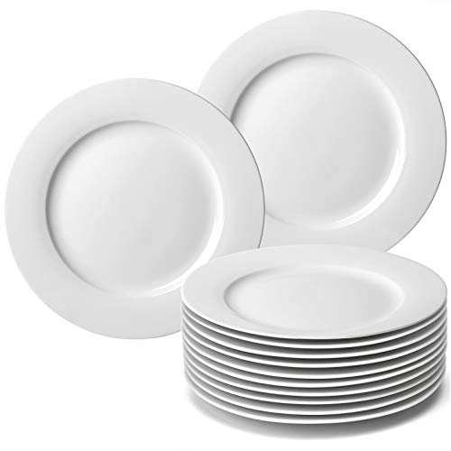 amHomel 12-Piece Porcelain Dinner Plates, Round Dessert or Salad Plate, Dinnerware Sets, Lead-Free, Safe in Microwave, Oven, and Freezer (10.5-inch, White)