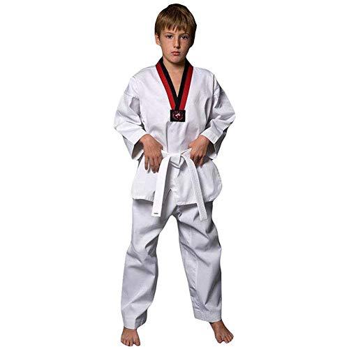 CXD Taekwondo Vestito Uniforme, Judogi Arti Marziali Aikido Karate Kung Fu Pantaloni Rivestimento dei Vestiti di Formazione Concorrenza Nastro Fissato per Uomini Donne Bambini,Bianca