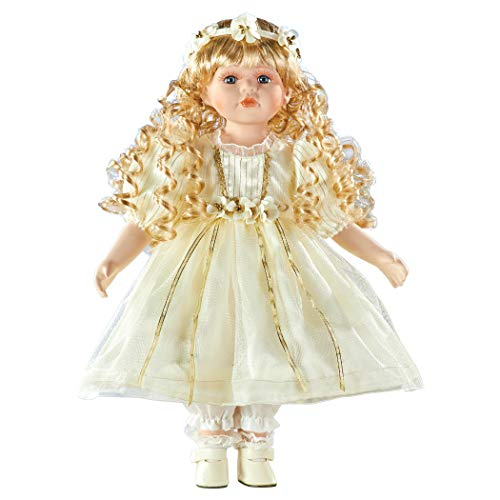 Collections Etc Christmas Gold-Accented Cream Dress Carolyn Porcelain Doll