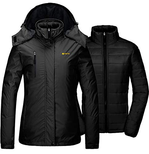 GEMYSE Women's Waterproof 3-in-1 Ski Snow Jacket Puffer Liner Insulated Winter Coat (Black,2XL)