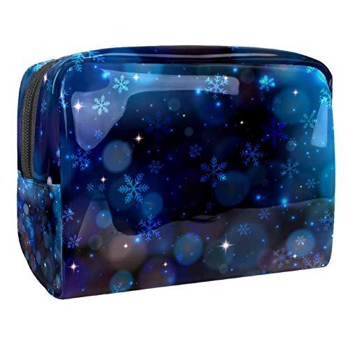 Bolsa de Maquillaje de Viaje Copo de Nieve Invierno Azul Bolsa de cosméticos Organizador Impermeable Bolso Monedero para Mujeres y niñas 18.5x7.5x13cm
