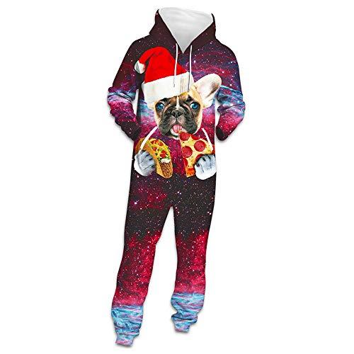 Weihnachten Herren Jumpsuit Jogger, Morbuy Unisex Herren Kapuzenpullover Strampelanzug 3D Printed Winter Onepiece Sweatshirt Männer Strampler Rot Nachtwäsche Fitness Bekleidung (L,Pizza)