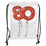 Fevthmii Kordelzug-Rucksäcke, Taschen zum 80. Geburtstag, für Großeltern, Party-Luftballons mit geschwungenem Schwillen-Kunst, weicher Satin, 5 Liter Fassungsvermögen, verstellbarer Schnurverschluss