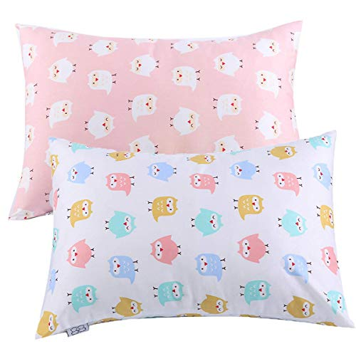 UOMNY Kids Toddler Pillowcases 2 Pack 100% Cotton Pillowslip Case Fits Pillows sizesd 13 x 18 or 12x 16 for Kids Bedding Pillow Cover Pink/White Owl Baby Pillow Cases