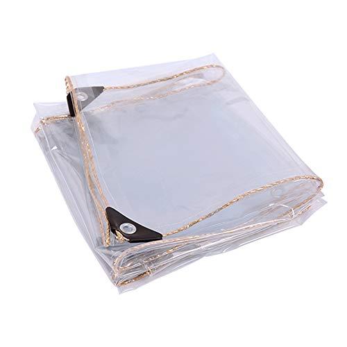Lona Impermeable Transparente Con Ojales 450g/㎡, Lona Transparente De Vidrio Pvc, Resistente a Desgarros, 0,35 Mm De Espesor, Utilizado Para Muebles De Jardín, Balcón, Exterior(3*3m(9.8*9.8ft))