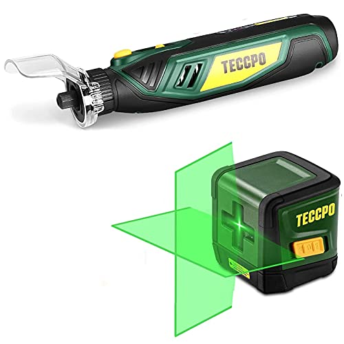 Line Laser Level TECCPO, 50ft Green Line Laser level, Self Leveling Tool, Cross Mode, 4V Cordless Rotary Tool, Carving and Sanding Rotary Tool Kit, Multi-Purpose Rotary Tool Kit,