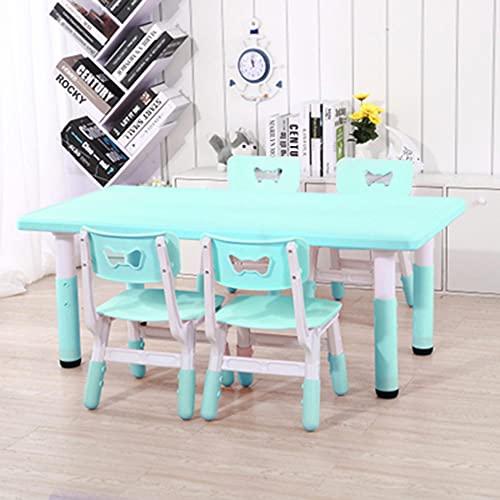 Juego de mesa y silla para niños, mesa de estudio para niños de plástico multifuncional ajustable en altura, escritorio/mesa de juego con 4 sillas, para jardín de infantes familiar, duradero /