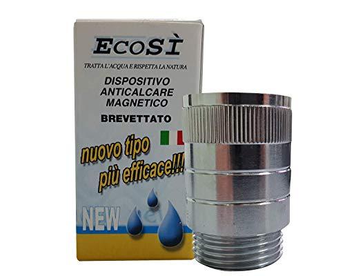 EcoSi Anticalcare Magnetico | Filettatura Standard 3/4' | Ideale per Lavatrici e Lavastoviglie | Ottone Cromato | Portata 23 lt/min | Diametro 30mm con 2 Guarnizioni