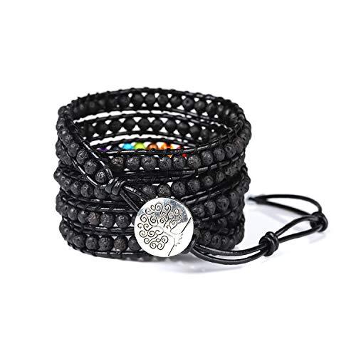 PLTGOOD Leather 5 Wrap Beads Bracelet for Men Women - 7 Chakras Essential Oil Diffuser Bracelet Natural Stone 4mm Lava Rock Beads Healing Yoga Adjustable Bracelet Bangle