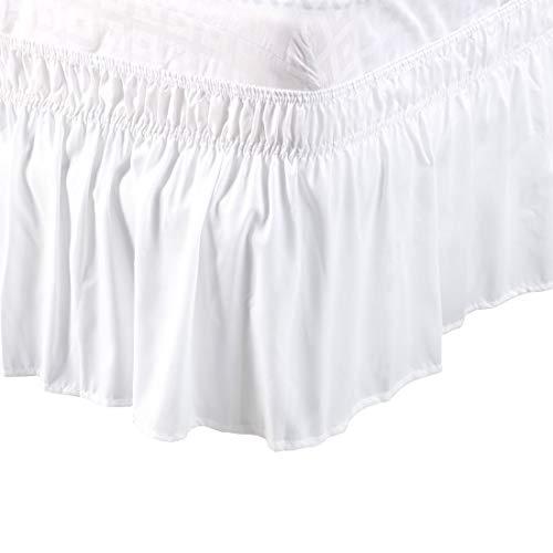PiccoCasa falda de cama de poliéster cepillado alrededor de tres lados de tela elástica con volantes de polvo, fácil ajuste de arrugas – con caída de 15 pulgadas blanco King