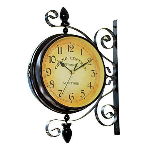 VORCOOL Reloj de pared de doble cara vintage Hierro Silencioso Tranquilo Estación de Grand Central Central Reloj de arte Reloj de pared decorativo de doble cara Girar 360 grados Reloj de pared antiguo