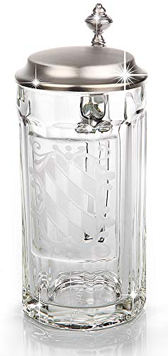 Sannys Bierkrug Glas mit Bayernraute und Zinndeckel - Glasseidel Gravurfähig (Mit Gravur)