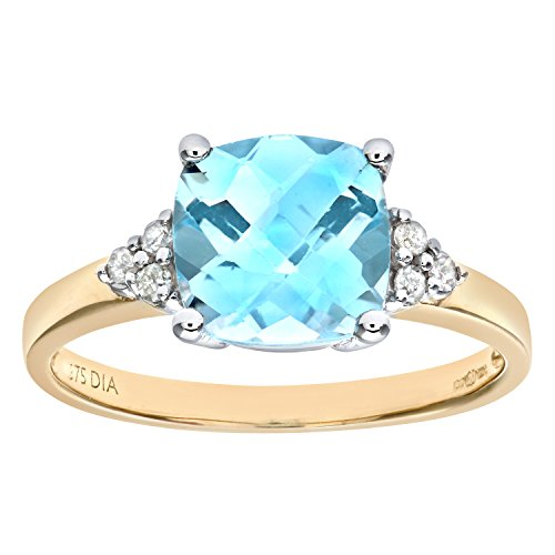 Naava Women's 9 ct Yellow Gold Cushion Cut Blue Topaz and Diamond Ring