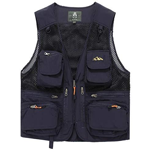 HLD Men's multi-pocket voorjaar en de zomer mesh vissen fotografie vest dunne-quick gedroogde vest van middelbare leeftijd outdoor schouder clip Gilets (Color : C, Size : XL)
