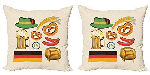 ABAKUHAUS alemán Set de 2 Fundas para Cojín, Cerveza de Trigo Pretzels, con Estampado en Ambos Lados con Cremallera, 50 cm x 50 cm, Multicolor
