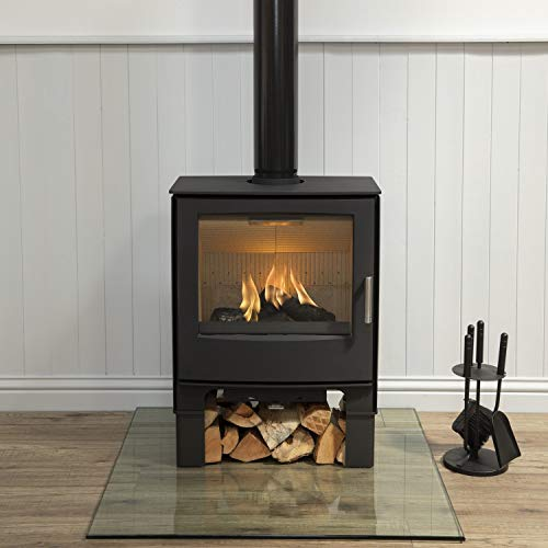 Mendip Woodland 5.0kW Large Multi Fuel Stove Log Store Glass Viewing Window Fire