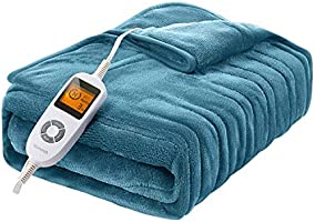 Homech Electric Heated Blankets, Electric Throws with Double-Layer Flannel, 10 Heating Levels, 3 Hours Auto-Off, Fast...