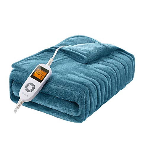 """Homech Electric Heated Blankets, Electric Throws with Double-Layer Flannel, 10 Heating Levels, 3 Hours Auto-Off, Fast Heat & ETL Certification, Home Office Use & Machine Washable, 50"""" x 60"""""""