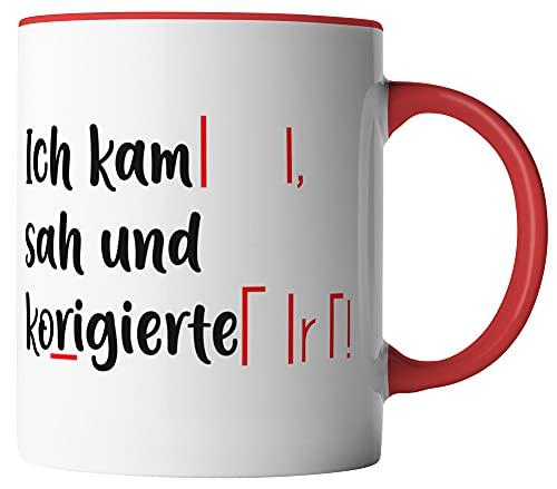 vanVerden Tasse - Ich kam sah und korrigierte - beidseitig Bedruckt - Geschenk Idee Kaffeetassen, Tassenfarbe:Weiß/Rot