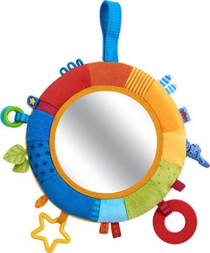 HABA 304689 - Spielkissen Kunterbunt, Baby-Spielzeug ab 6 Monaten für Gitterbett oder Babyschale, mit Beißelement und Spiegelfolie