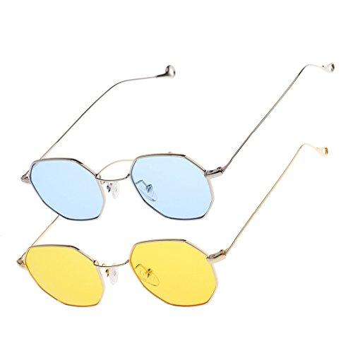 Hellery 2 x modieuze vintage Octagon zonnebril retro unisex hippie bril