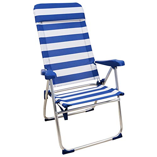 Sedia da spiaggia ARCOIRIS, letto a 4 posizioni con tasca posteriore con maniglie e testata regolabile in altezza (1 Unidad, Rayas Azul y Blanco)