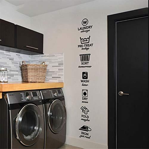 adesivo muro Le regole delle decalcomanie della lavanderia Adesivi Tag lavanderia Lavaggio a secco Pieghevole Ferro da stiro Lavanderia Adesivo da parete