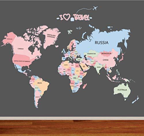Mapa del Mundo Etiqueta de la Pared Sala de Estar Dormitorio Habitación de los Niños Color Etiqueta de la Pared