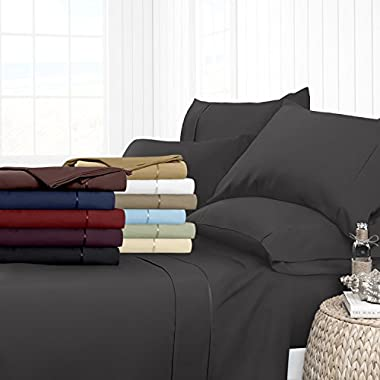 Egyptian Luxury Hotel Collection 4-Piece Bed Sheet Set - Deep Pockets, Wrinkle and Fade Resistant, Hypoallergenic Sheet and Pillow Case Set  - King, Gray