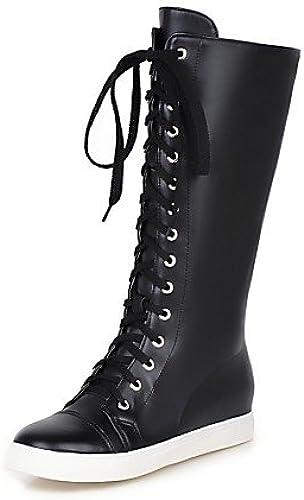 XZZ  zapatos de mujer - plataforma - botas Anfibias   Punta rojoonda - botas - Vestido   Casual - Semicuero - negro   blanco   plata