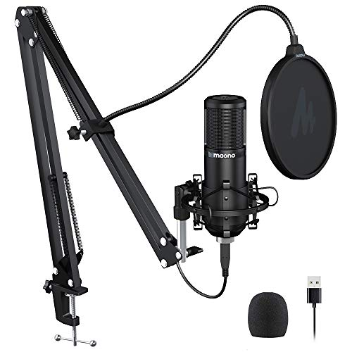 Podcast Microphone 192KHZ/24BIT MAONO AU-PM420 USB Condenser Cardioid PC Mic with Professional Sound Chipset for Gaming, Streaming, YouTube, Voice Over, Studio/Home Recording