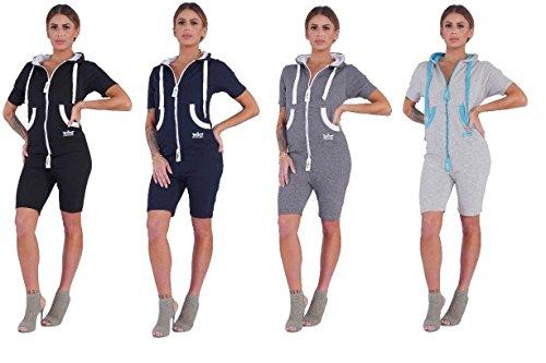Finchgirl Damen Jumpsuit Sommer einteilig Jogging Trainingsanzug Overall (L, dunkelblau/weiß)