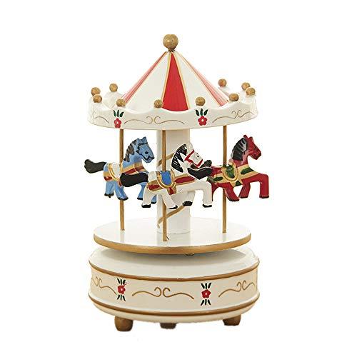 MINGZE Cajas Musicales, Caja de música de Madera Europea con 4 Caballos con carrusel, para niñas Niños Niños Bebé Navidad Cumpleaños Cumpleaños Regalo (Flower-White)