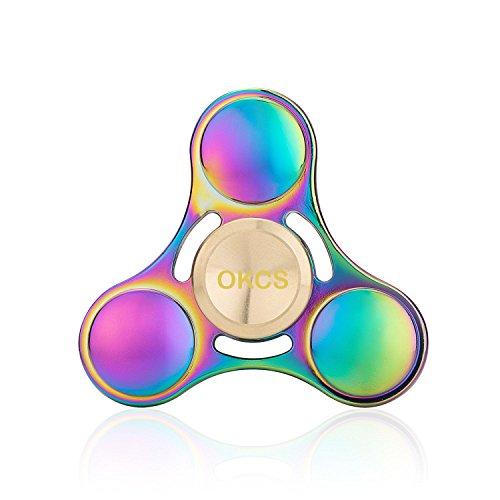 OKCS Fidget Spinner Spielzeug Tri Spinner Stresslöser Konzentration Rundes Design - Rainbow