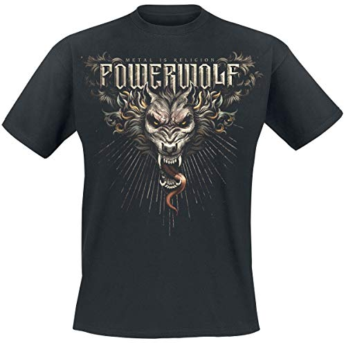 Powerwolf Dracul Wolf Männer T-Shirt schwarz S 100% Baumwolle Band-Merch, Bands