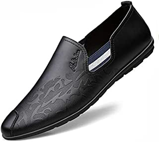 FYdgcgf Men's Shallow Mouth Breathable Casual Embossed Leather Shoes Slip-on Soft Loafers Shoes
