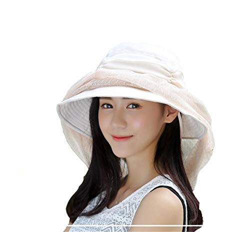 Mosquito Head Net Hat - Safari Hiking Fishing Hats Protection from Bug Insect for Women Beige