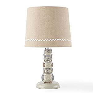 Levtex Baby – Night Owl Lamp Base and Shade – Nursery Accessories – Taupe and Creame